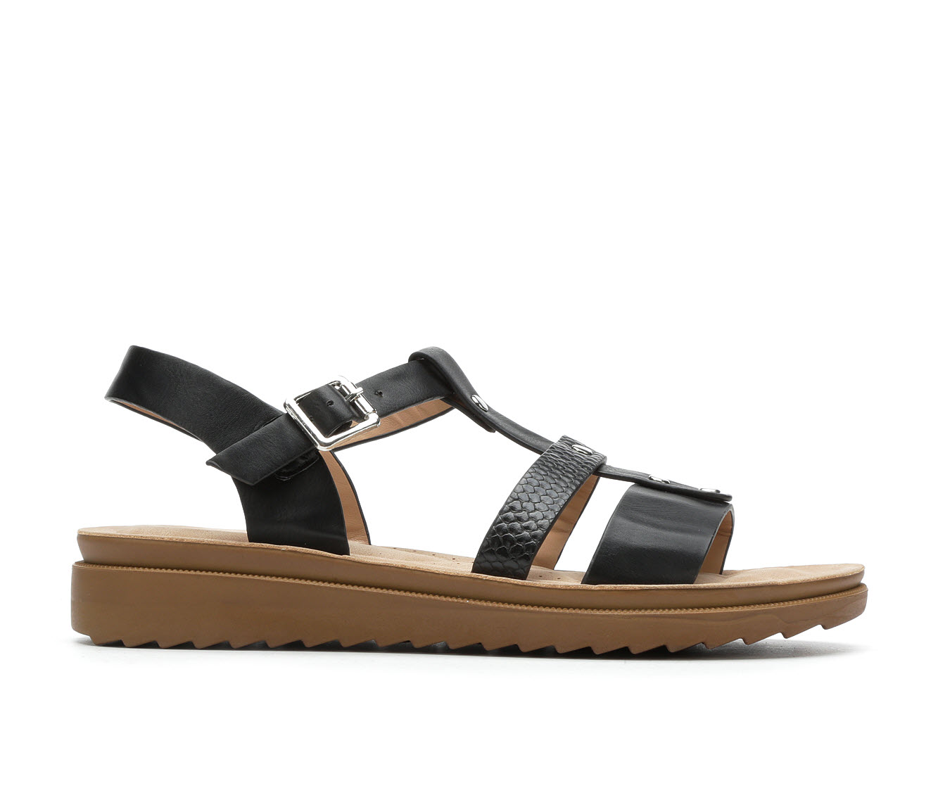 Andiamo Oilly Women's Sandal (Black Faux Leather)