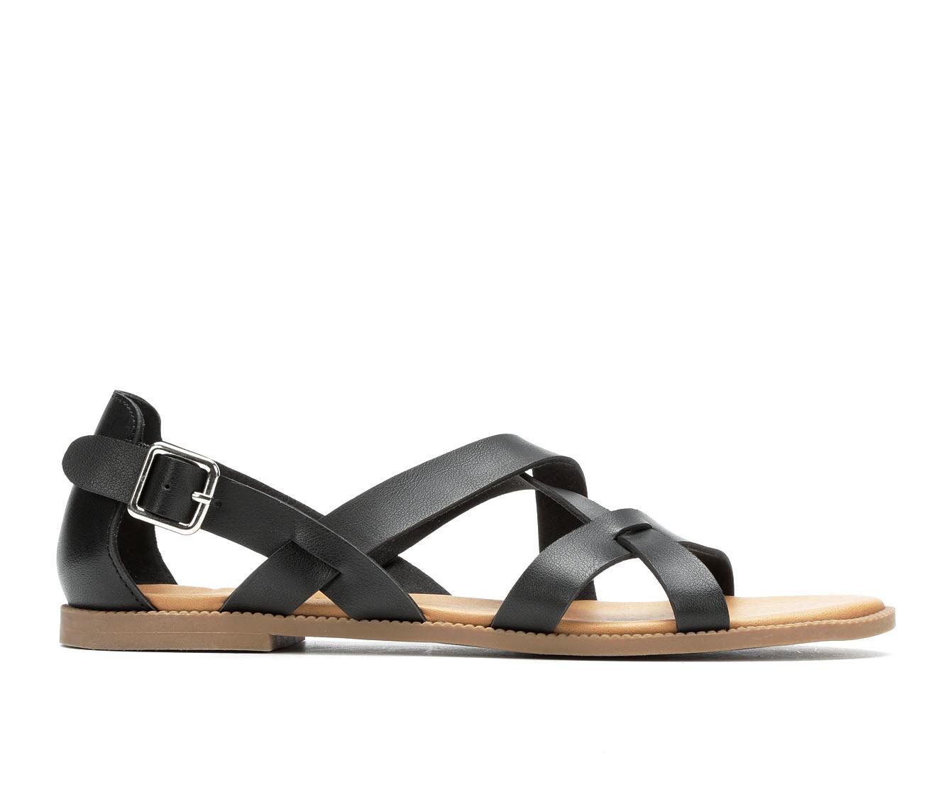 Andiamo Corn Women's Sandal (Black Faux Leather)