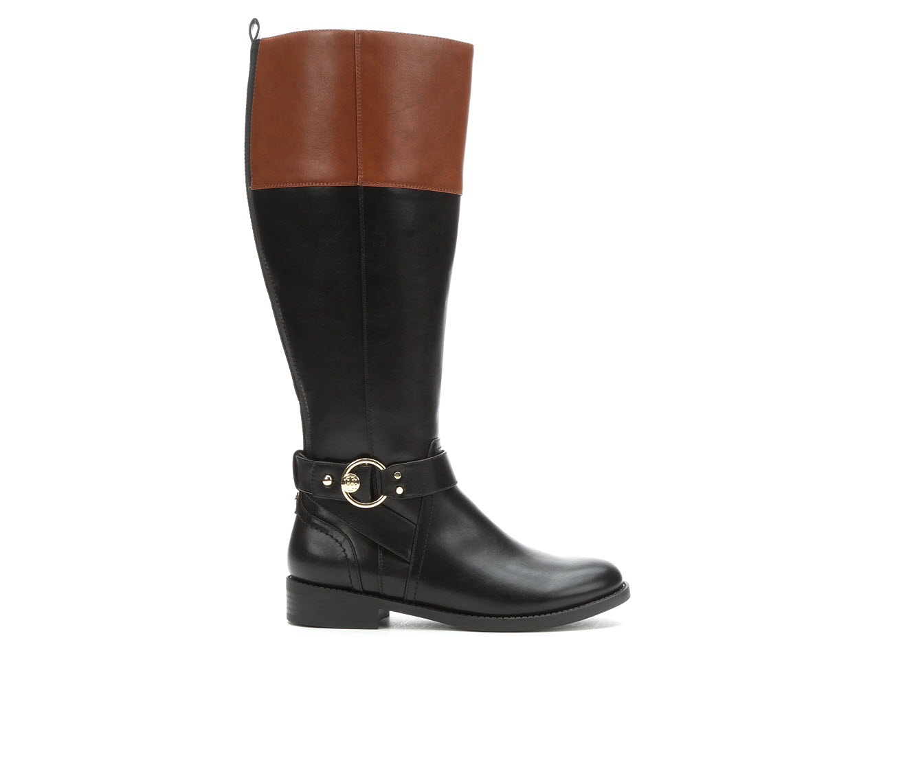 Tommy Hilfiger Isha Wide Width Wide Calf Women's Boot (Black Faux Leather)