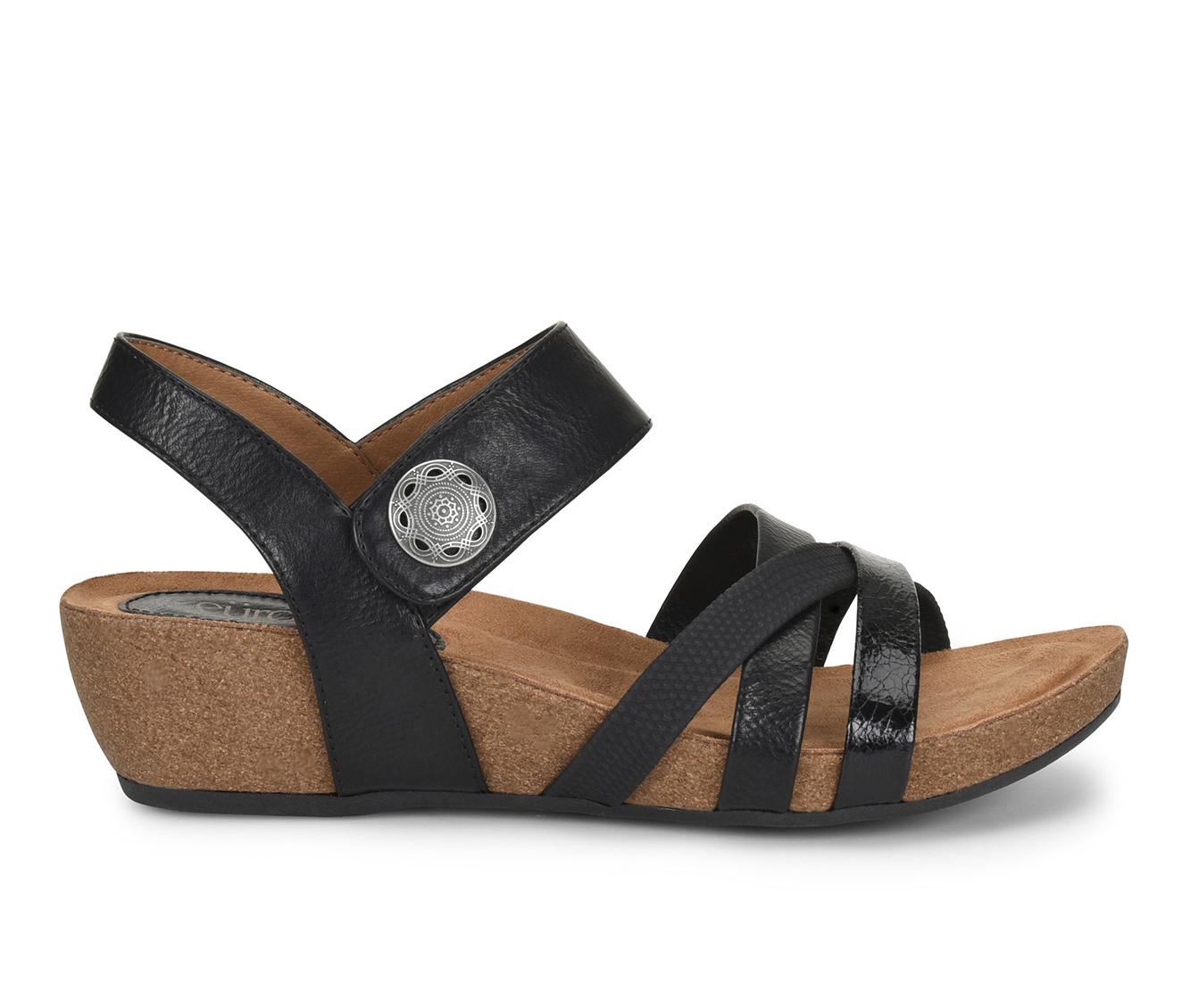 EuroSoft Renae Women's Sandal (Black Faux Leather)