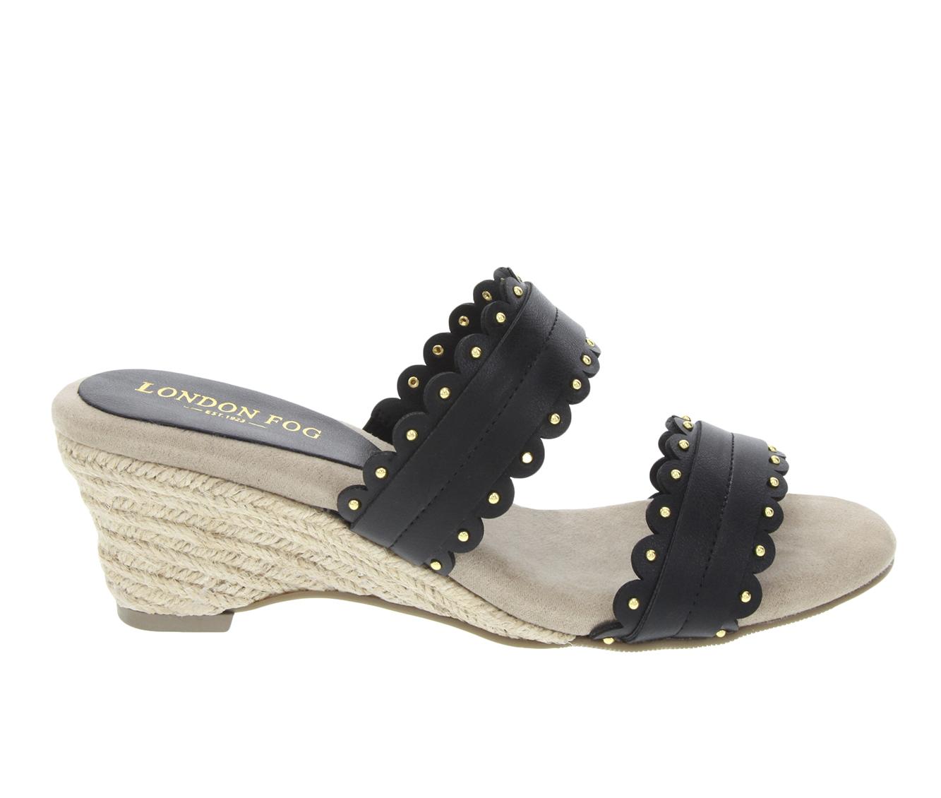 London Fog Kay Women's Sandal (Black Faux Leather)