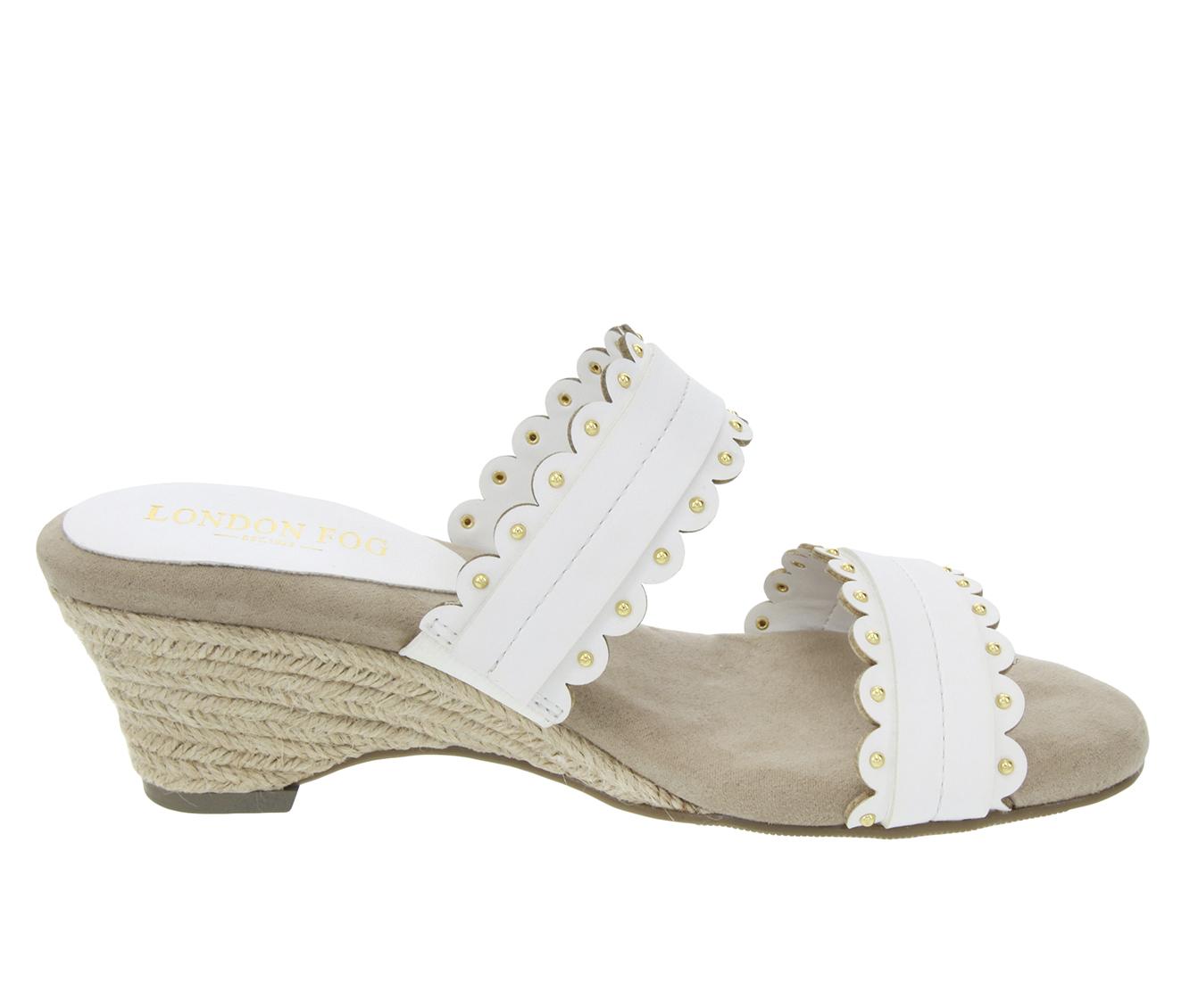 London Fog Kay Women's Sandal (White Faux Leather)