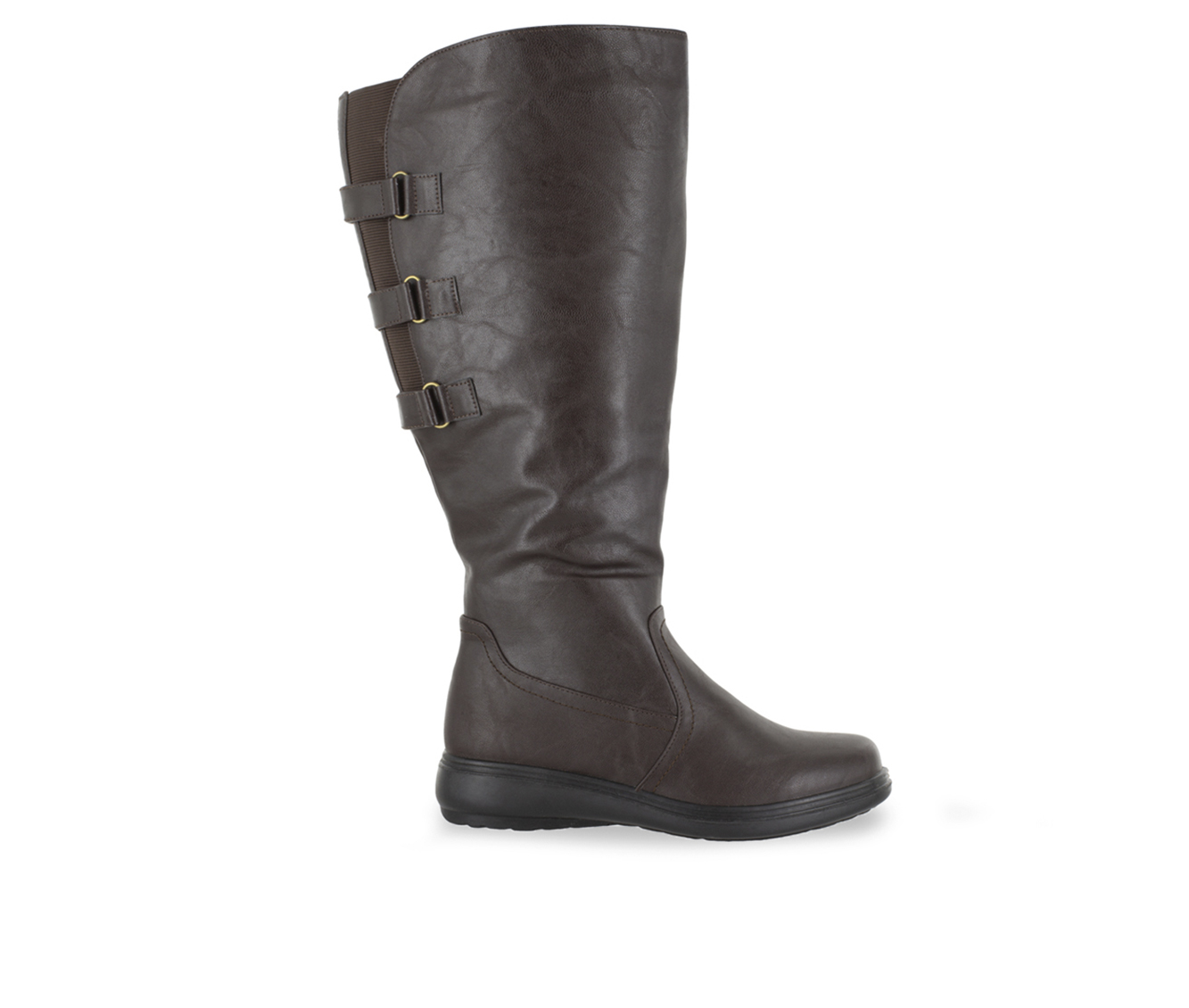 Easy Street Presley Plus Women's Boot (Brown Faux Leather)