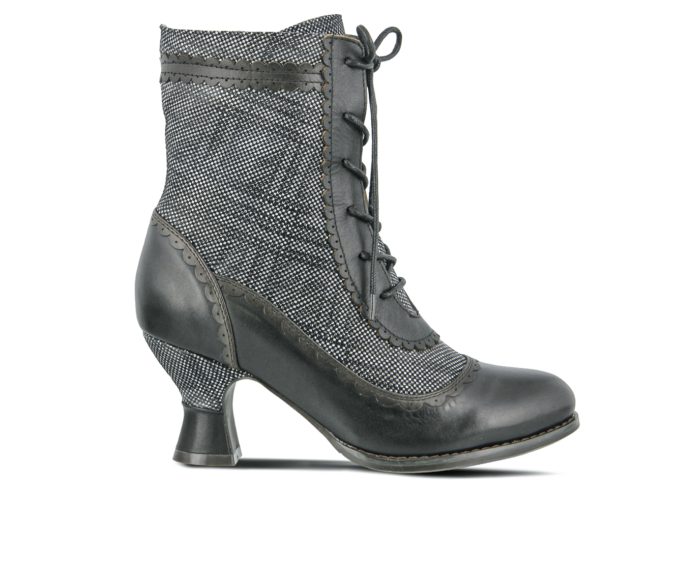 L'Artiste Bewitch-Plaid Women's Boots (Black Leather)