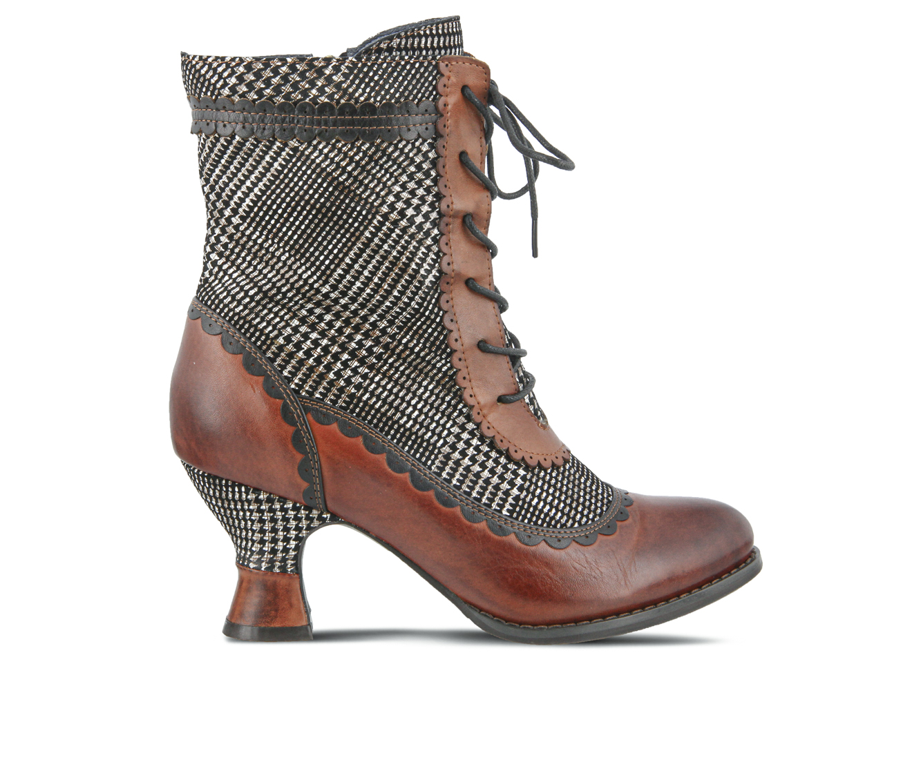 L'Artiste Bewitch-Plaid Women's Boots (Brown Leather)