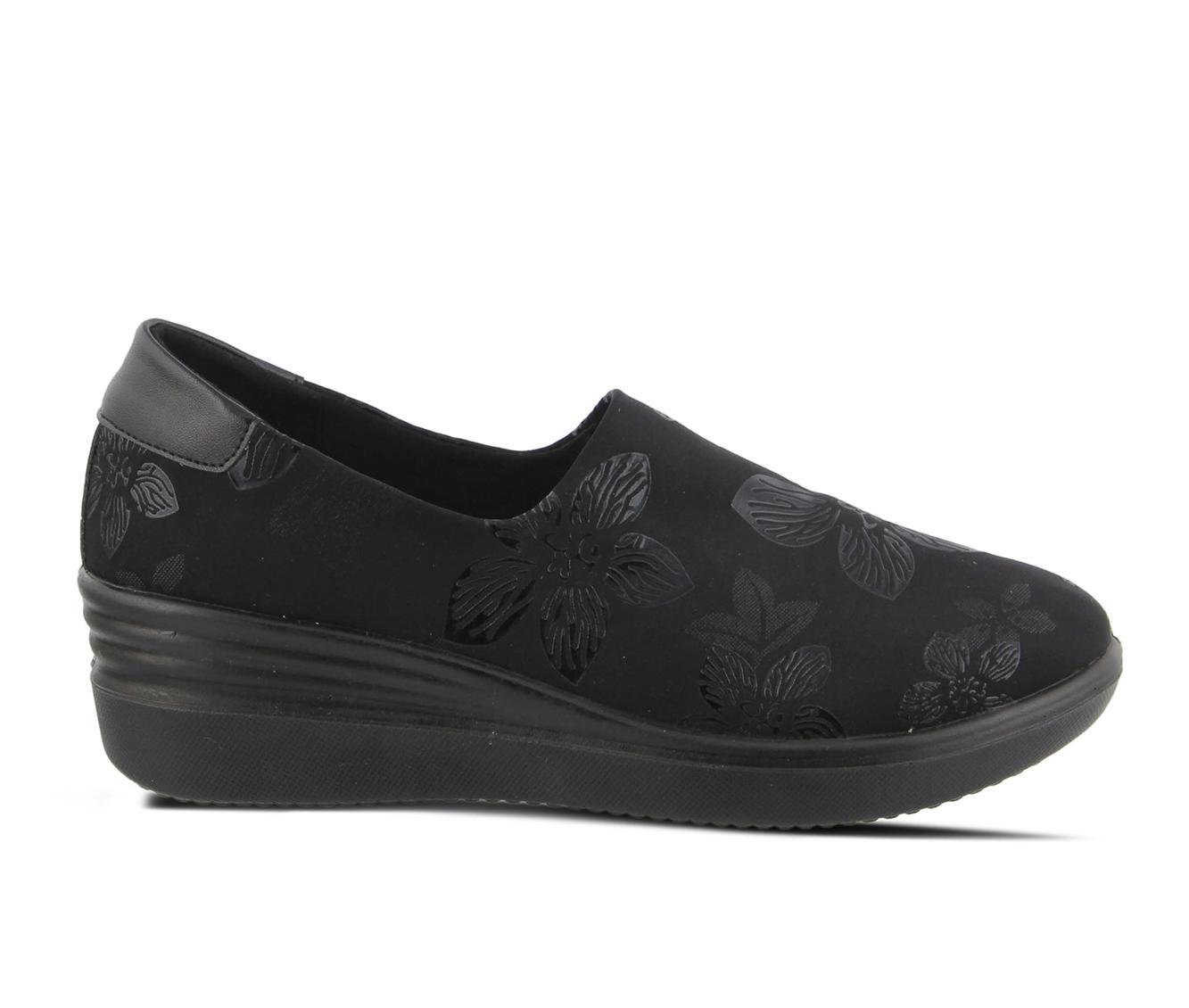 Flexus Noral-Flower Women's Shoe (Black Canvas)