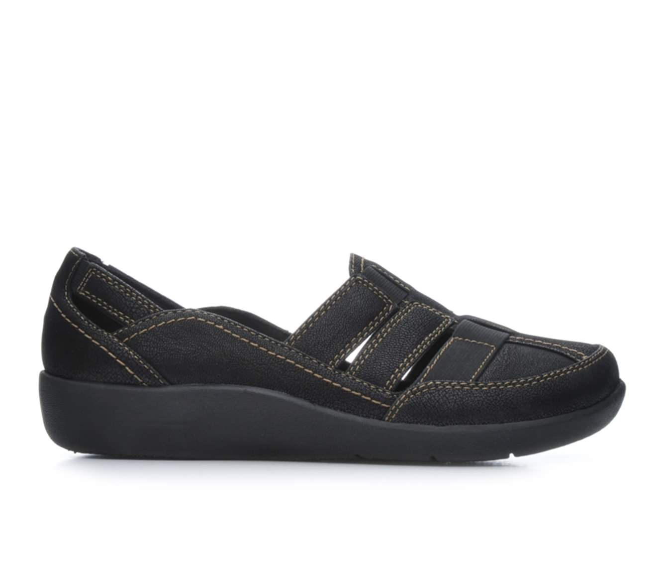 Clarks Sillian Stork Women's Shoe (Black Faux Leather)
