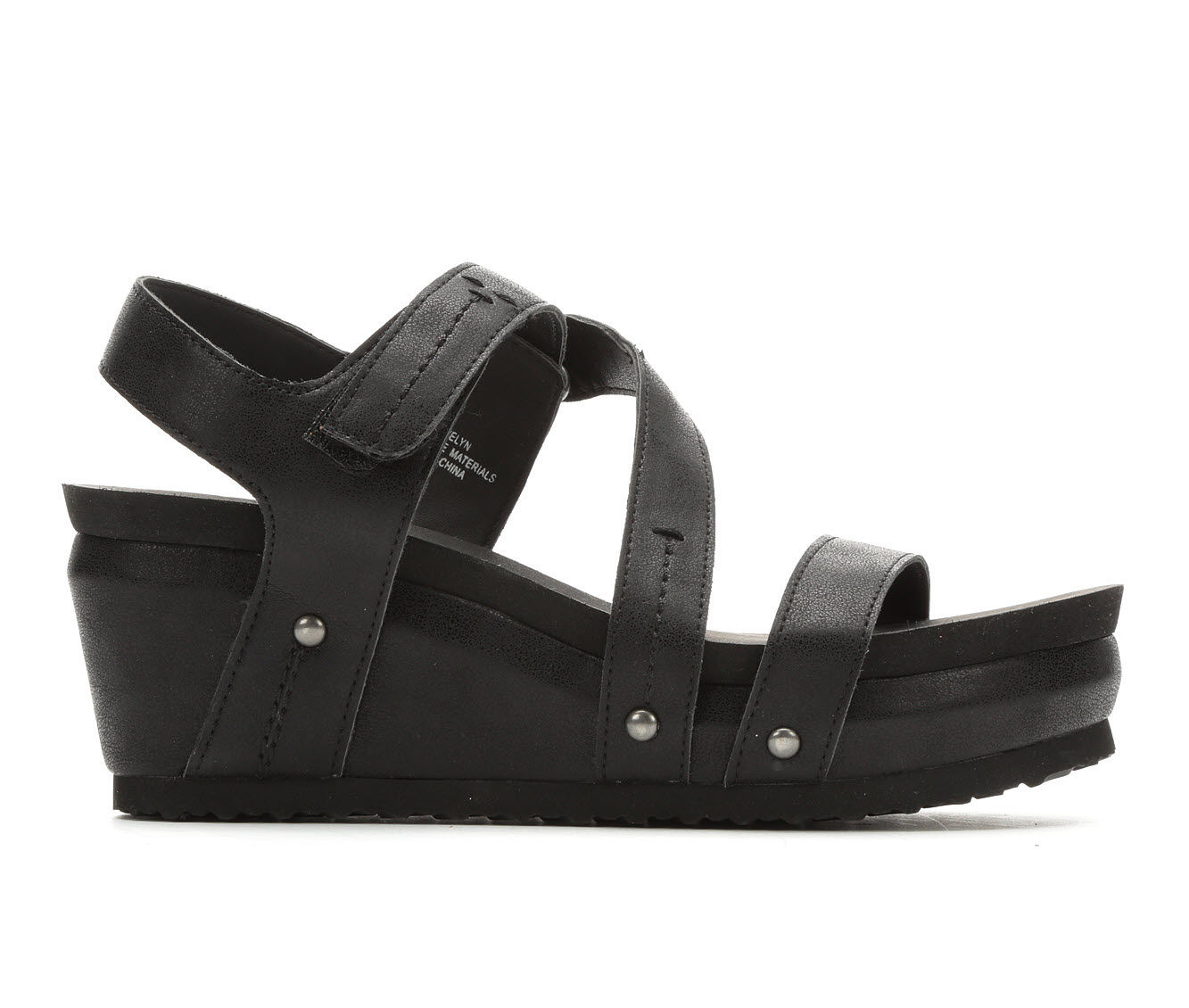 Axxiom Evelyn Women's Sandal (Black Faux Leather)