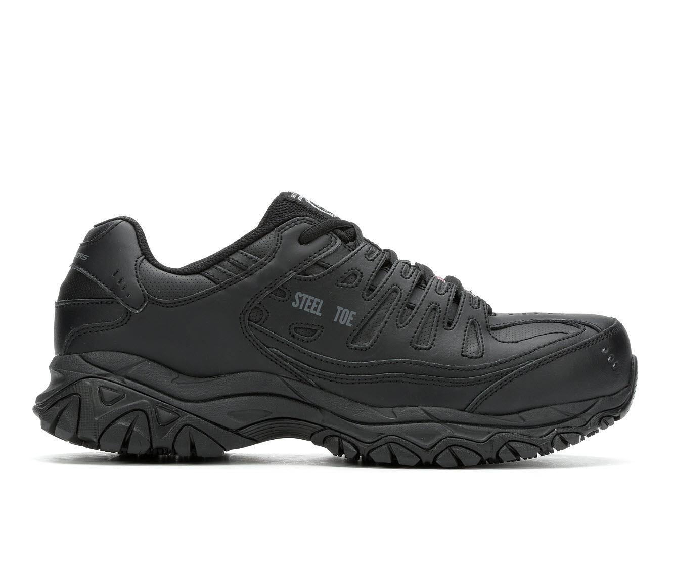 Skechers Work Keymar Steel Toe Waterproof 77517 Men's Boots (Black Faux Leather)