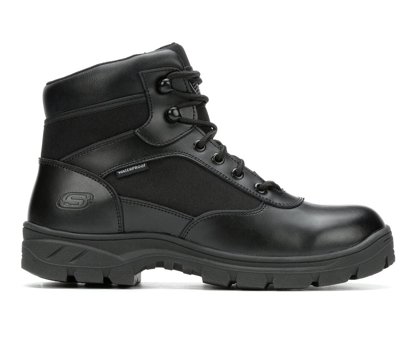 Skechers Work Benen Electrical Hazard Waterproof 77526 Men's Boots (Black Faux Leather)