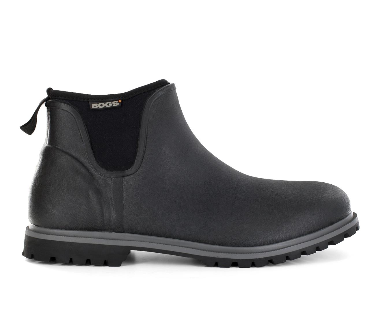 Bogs Footwear Carson Waterproof Slip On Men's Boots (Black Faux Leather)