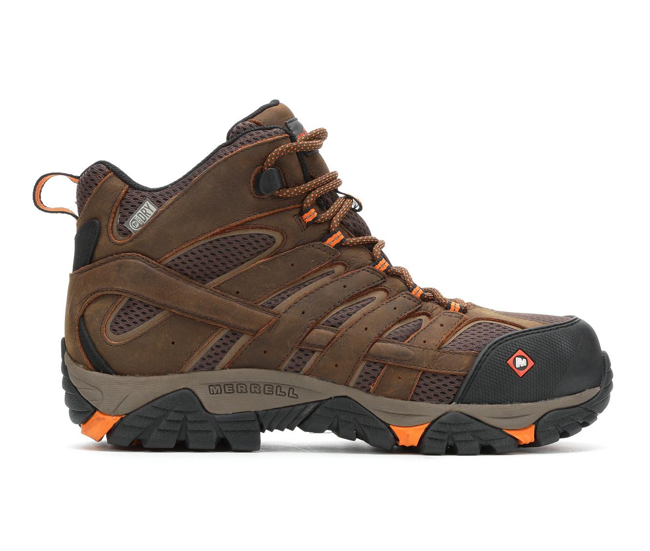 Merrell Work Moab Vertex Mid Waterproof Comp Toe Men's Boots (Brown Suede)