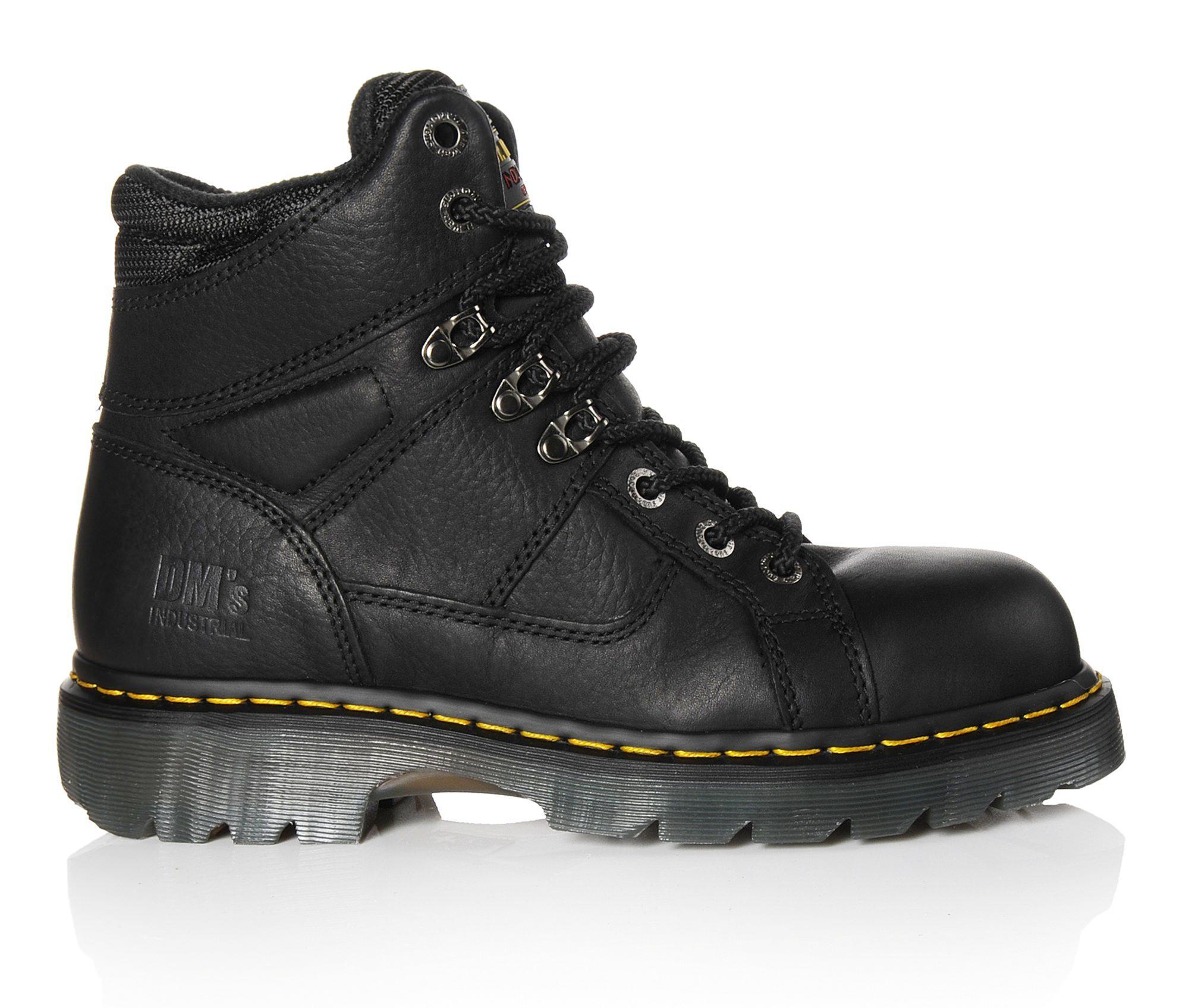 Dr. Martens Industrial Ironbridge 6 In Steel Toe Men's Boots (Black Leather)