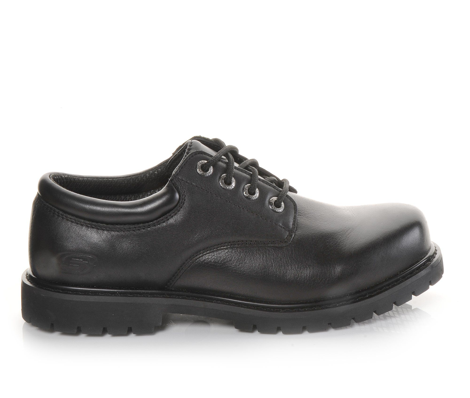 Skechers Work Elks Slip Resistant 77041 Men's Boots (Black Leather)