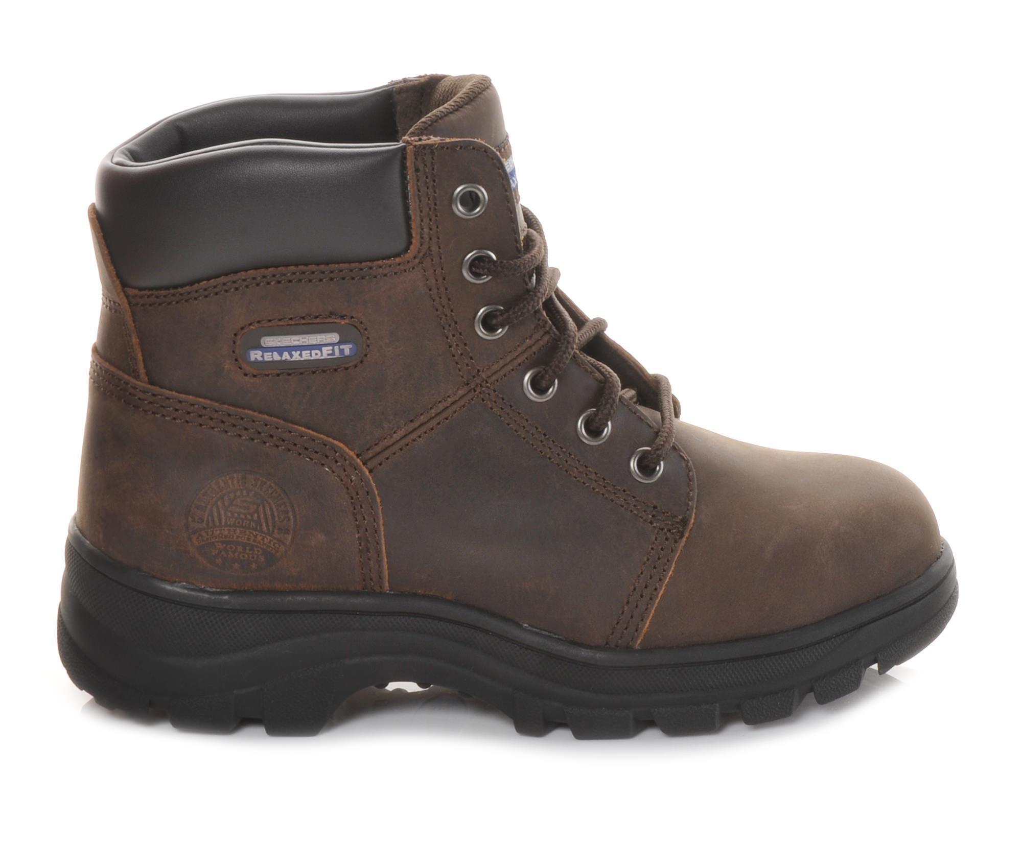 Skechers Work Workshire Peril 76561 6 In Steel Toe Men's Boots (Brown Leather)