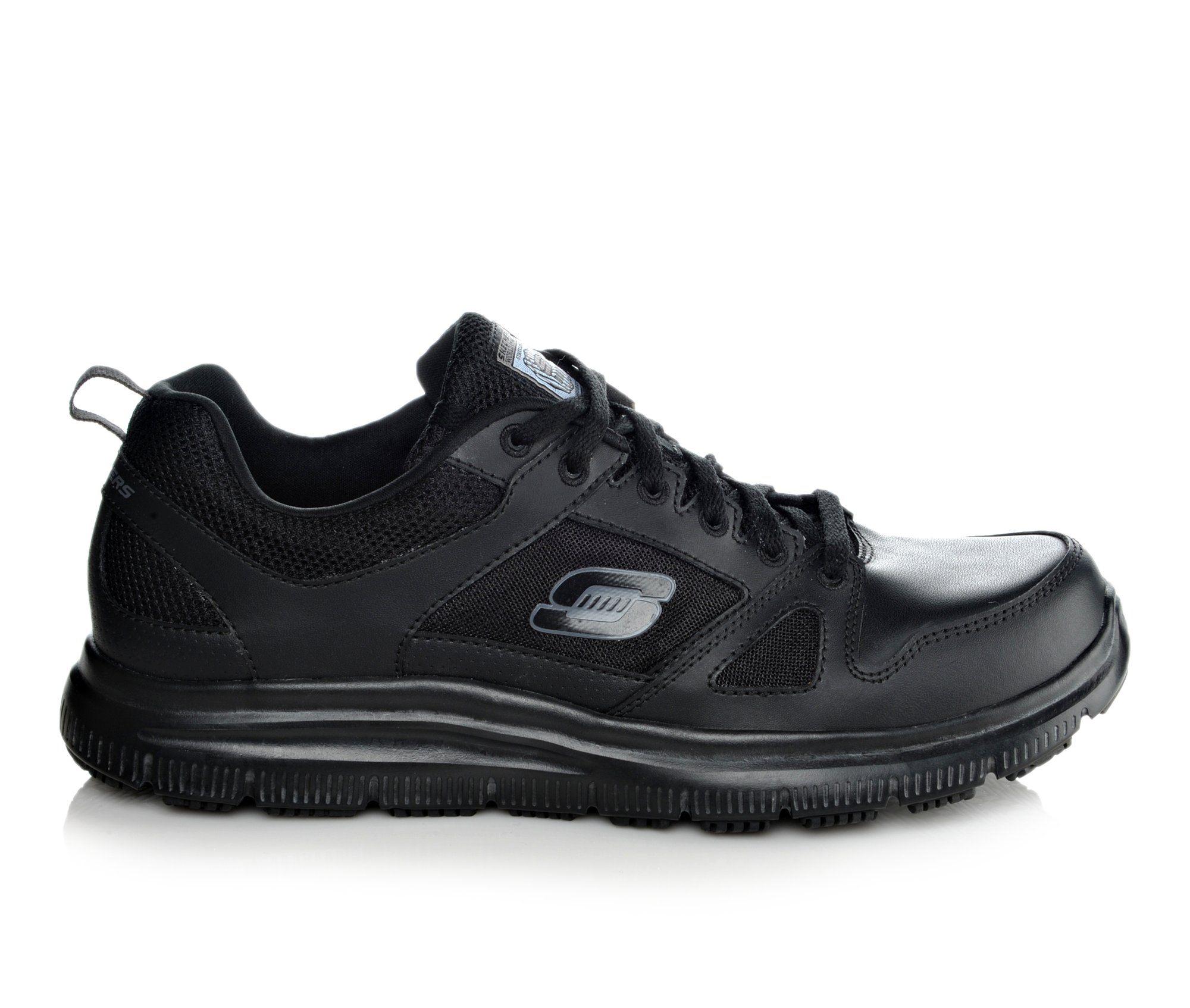 Skechers Work 77040 Flex Advantage Slip Resistant Men's Boots (Black Leather)