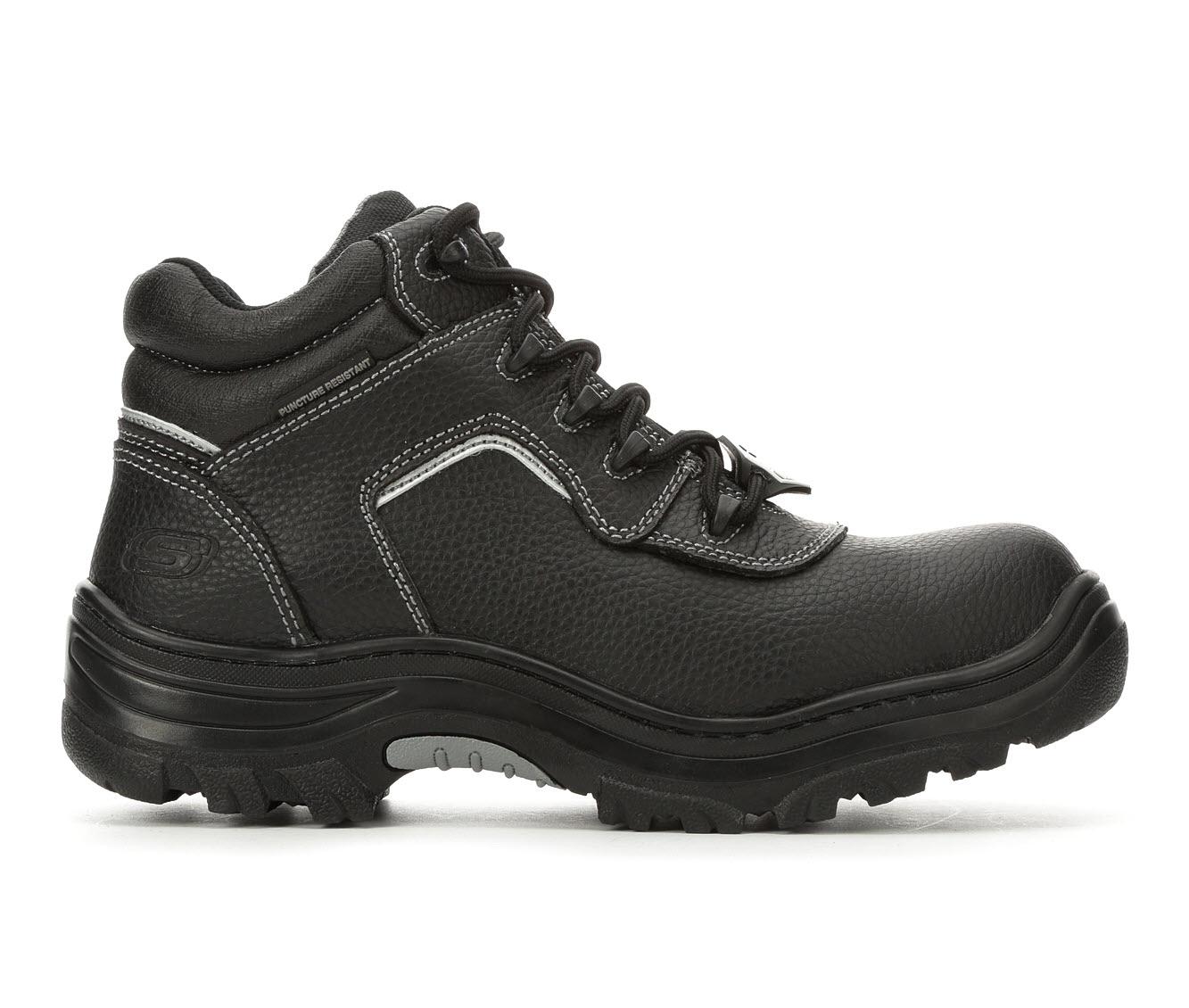 Skechers Work Workshire Burgin Sosder 77144 Men's Boots (Black Faux Leather)