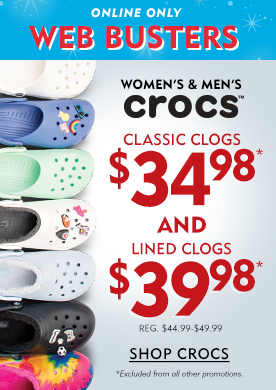 Online Only Web Busters Women's & Men's Crocs. Classic Crogs $34.98 And Lined Clogs $39.98