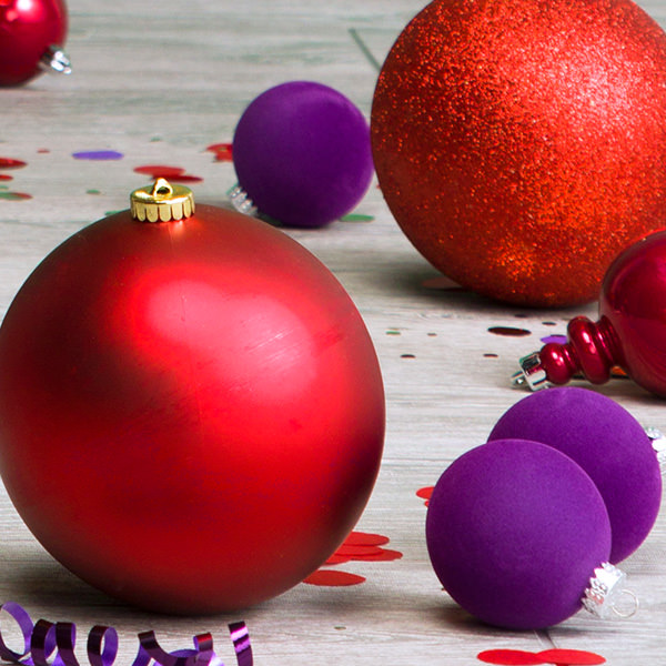 Purple and Red Ornaments