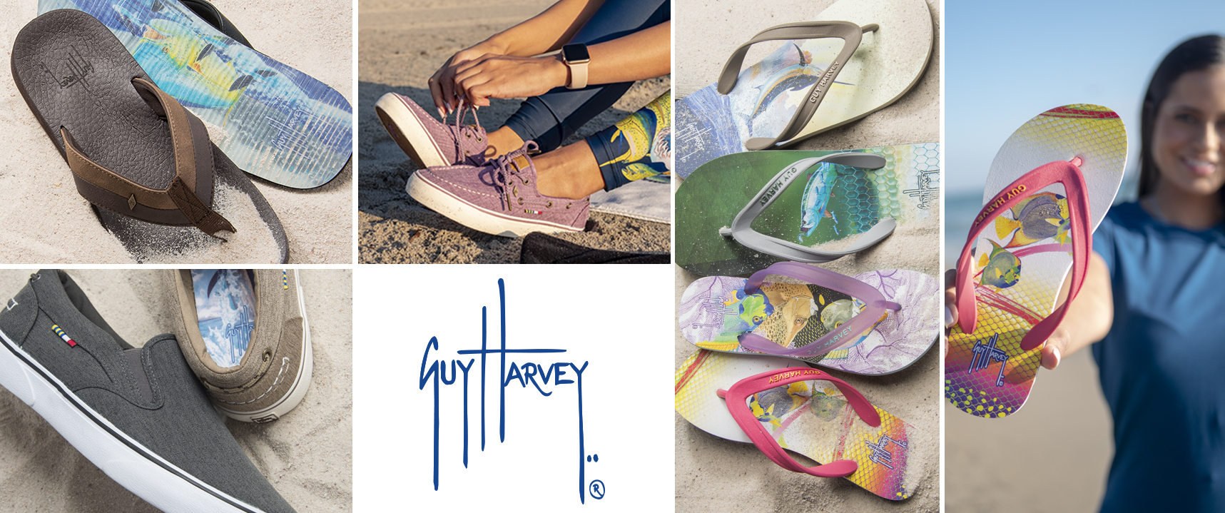 Guy Harvey nautical artist designed flip-flops and casual shoes